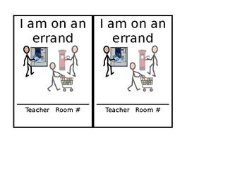 Errand Hall Pass - Autism Special Education Classroom