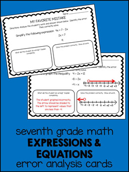 Error Analysis - 7th Grade Expressions & Equations