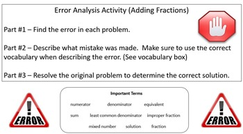 Error Analysis (Adding Fractions)
