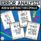 Error Analysis: Adding and Subtracting Decimals Task Cards