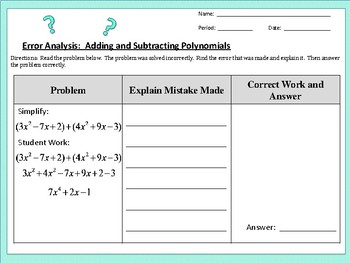 Error Analysis:  Adding and Subtracting Polynomials