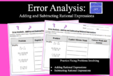 Error Analysis:  Adding and Subtracting Rational Expressions