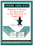 Error Analysis - Domain, Range, & Functions