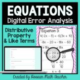 Error Analysis Equations w/ Distributive Prop & Like Terms