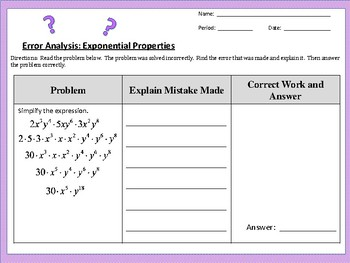Error Analysis:  Exponential Properties