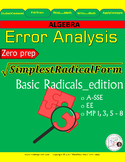Error Analysis activity: Simplifying Square Root and radicals.