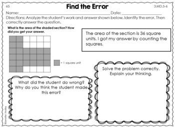 Error Analysis Math Tasks {3rd Grade}