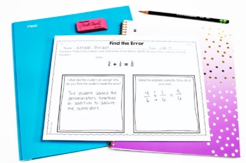Error Analysis Math Tasks {4th Grade}