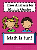 Error Analysis-Middle School Math Bundle (70 Pages)