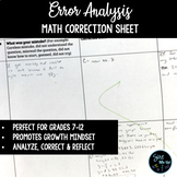 Math Test Correction Error Analysis & Reflection Sheet for Growth Mindset