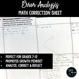 Error Analysis / Mistake Correction Sheet to Encourage Gro