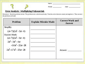 Error Analysis:  Multiplying Polynomials