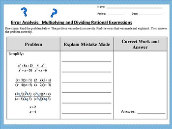 Error Analysis:  Multiplying and Dividing Rational Expressions