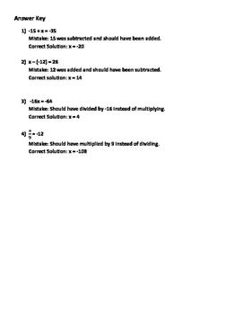 Error Analysis - One-Step Equations