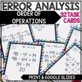 Error Analysis: Order of Operations Task Cards