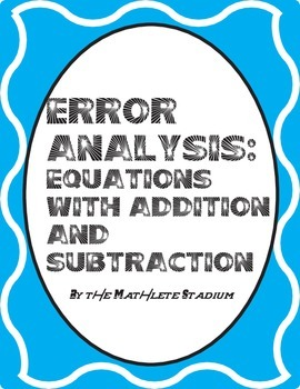 Error Analysis: Printable One Step Equations Pack (Add., S