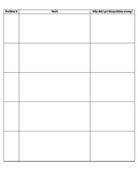 Error Analysis Sheet
