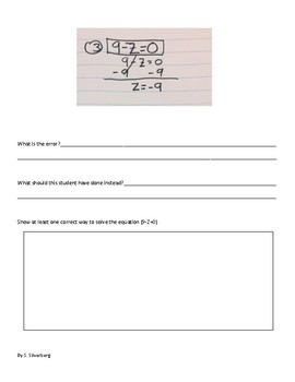 Error Analysis- Single Step Linear Equations