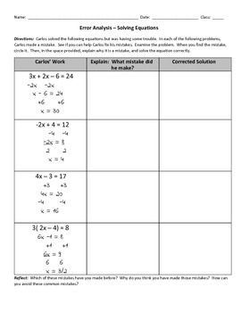 Error Analysis Solving Equations