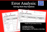 Error Analysis:  Solving Multi-Step Equations