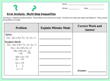 Error Analysis:  Solving Multi-Step Inequalities