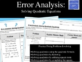 Error Analysis:  Solving Quadratic Equations