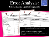 Error Analysis:  Solving Radical Equations