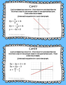 Error Analysis Solving for y and Graphing Linear Equations