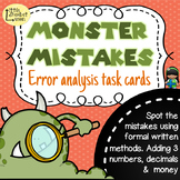 Error Analysis / Spot the Mistake Task Cards for Written Addition Methods Gd 5 6