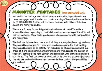 Error Analysis / Spot the Mistake Task Cards for Written Addition Methods Gd 5 6