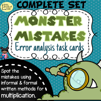 Error Analysis / Spot the Mistake Task Cards for Written Multiplication COMPLETE