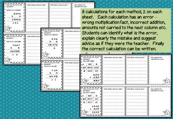 Error Analysis / Spot the Mistake Task Cards for Written Multiplication (Gr 4 5)