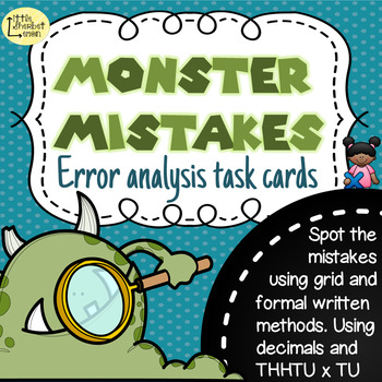 Error Analysis / Spot the Mistake Task Cards for Written M