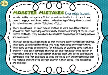 Error Analysis / Spot the Mistake Task Cards for Written Multiplication Methods