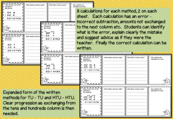 Error Analysis / Spot the Mistake Task Cards for Written Subtraction Methods