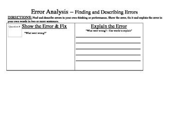 Error Analysis Template