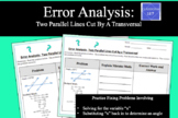 Error Analysis:  Two Parallel Lines Cut By A Transversal