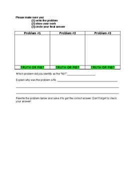 Error Analysis Worksheet