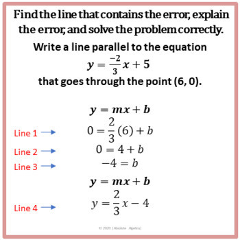 Writing Equations of Parallel and Perpendicular Lines:  Error Analysis