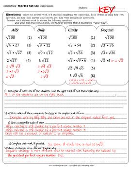 Error Analysis activity: Simplifying Radical Expressions STRATEGIES