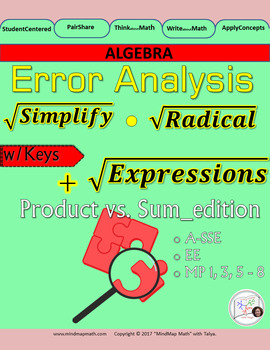 Error Analysis activity: Simplifying Square Root Expressions Products vs. Sums