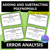 Adding & Subtracting Polynomials Error Analysis Google Forms Distance Learning