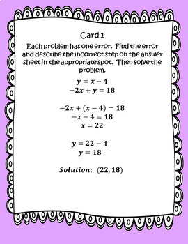 Solving Systems of Linear Equations using Substitution: Error Analysis