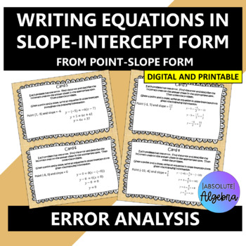 Error Analysis:  Writing Equations in Slope-Intercept Form from Point-Slope Form