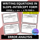 Error Analysis: Writing Equations in Slope-Intercept Form using y=mx+b to find b