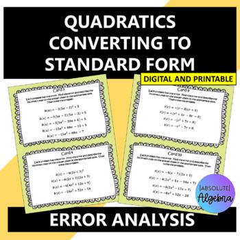 Error Analysis of Vertex and Intercept Form of Quadratics
