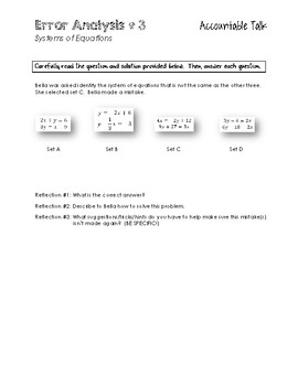 Error Analysis with Systems of Equations