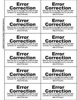 Error Correction Card Game