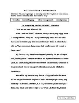 Error Correction & Short Story Exercise