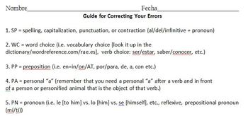 Error inventory with essays with guide for error correction